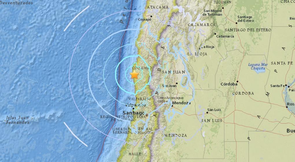 Sismo de magnitud 6,2 sacude la zona centro y norte de Chile