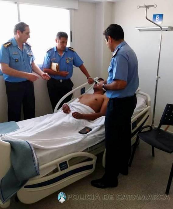 Autoridades policiales visitaron al suboficial que se accidentó en Santa María - Diario El Esquiu