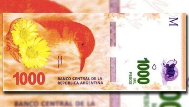 El billete de $1000 con la imagen del hornero estará en la calle en octubre