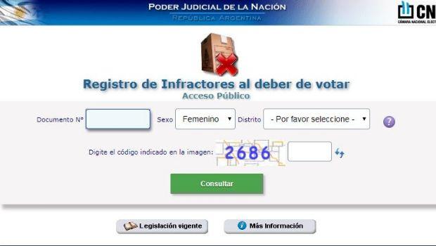 Consultá si aparecés en el registro de infractores electorales