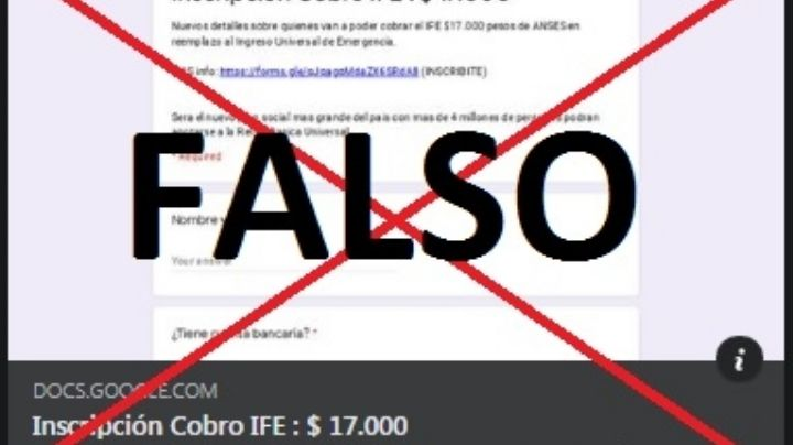 Fake News: es falsa la inscripción para el cobro del IFE de $17.000